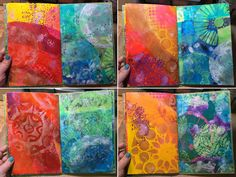 "StencilGirl Blog - fun little mini art journal that you can make with your stencils and the new Gelli Arts® Printing Plates- it works especially well with the new 4"" and 6"" round plates! - See more at: http://www.stencilgirltalk.com/2015/04/make-gelli-printed-mini-art-journal.html#sthash.z8W5z4jQ.dpuf"