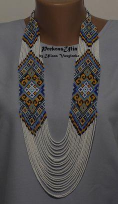 Blue yellow gerdan Patriotic ukrainian gerdan Traditional Ukrainian Handmade Glass Beaded necklace Long Gerdan White Gift for her women girl hashtags Bead Jewellery, Seed Bead Jewelry, Beaded Jewelry, Jewelry Necklaces, Diy Jewelry, Jewelery, Simple Necklace, Diy Necklace, Necklace Ideas