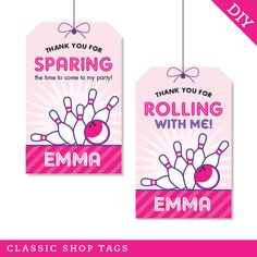 Bowling party - Custom DIY printable favor tags via Etsy Bowling Party Themes, Bowling Party Invitations, Party Favor Tags, Favor Bags, Goody Bags, Invites, Gift Tags, Happy Birthday Name, 6th Birthday Parties