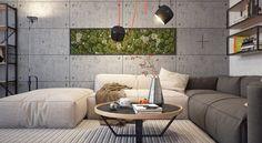 canapé blanc et gris, murs en béton et mur végétal intérieur