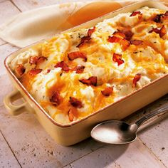 These rich and creamy potatoes are absolutely delicious. For an extra crispy bacon topping, sprinkle at end of cooking.