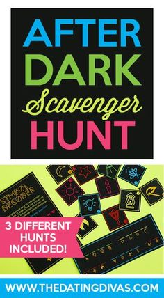 Three unique scavenger hunts using glow sticks in the dark! A perfect activity for families or for a group date! Free printables included! Printables designed by www.jabcreativeaustralia.com www.TheDatingDivas.com
