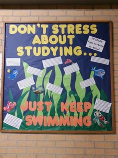 Finding Nemo themed Bulletin Board about stress and studying