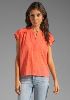 Twelfth Street By Cynthia Vincent Florica Casual Blouse in Orange