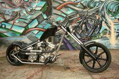 2005 West Coast Choppers El Diablo II Rigid built by Jesse James & WCC in Long Beach, California Badass Motorcycle Helmets, Big Dog Motorcycle, Motorcycle Style, Motorcycle Quotes, Motorcycle Paint, Custom Choppers, Custom Harleys, Custom Motorcycles, Custom Bikes