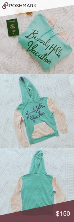 """Wildfox """"Beverly Hills Vacation"""" hoodie Size small. Worn about 5 times. In great condition! It is literally the coziest hoodie! It's so hard for me to sell this but I need the $ and I don't wear this enough.. still debating on whether or not to sell🤔 Wildfox Jackets & Coats"""