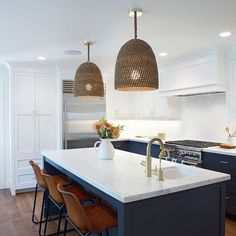 "60 Likes, 6 Comments - Salt Design Co (@saltdesignco) on Instagram: ""Trends we love by Designers we love. Trends: natural pendants over kitchen island, brass faucet,…"""