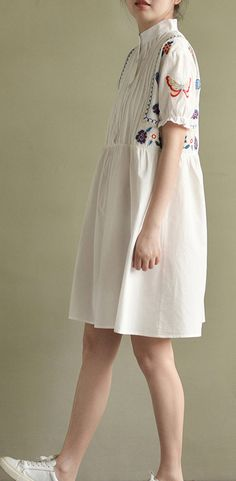 2017 white embroidery wrinkled cotton sundress oversize casual dresses short sleeve mid dress
