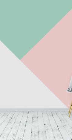 Mint Walls, Pastel Walls, Mint Wallpaper, Geometric Wallpaper, Geometric Wall Paint, Mint Rooms, Girls Room Paint, Baby Dekor, Mint Decor