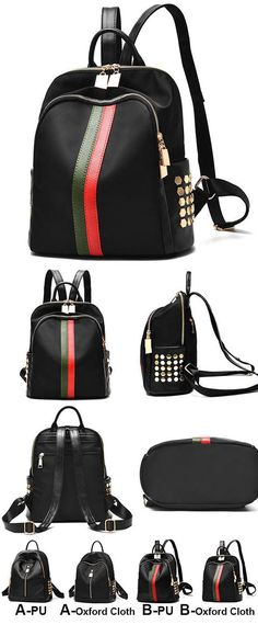 Unique Black PU Green Red Vertical Stripes Bag Frosted Oxford Cloth Rivet Backpack is so cool ! #pu #black #rivet #striped#backpack #Bag #school #college #girl #student #rucksack #leisure #fashion #camping