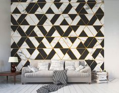Introduce a tile effect with a difference with this cool Marbled Textured Geometric wall mural. The use of black and white geometric shapes separated by elegant gold edges and the textured marble style creates something simple yet truly impactful. Geometric Wallpaper Murals, Textured Wallpaper, Wall Wallpaper, Wallpaper Wallpapers, Interior Decorating, Interior Design, Concrete Wall, Metal Walls, Geometric Shapes