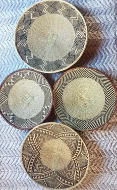Lovely Set of 4 Handwoven Binga Baskets African Wall Decor Baskets On Wall, Hanging Baskets, Above Bed Decor, Decorative Plates, Hand Weaving, Handmade Items, African, Wall Decor, Room Kitchen