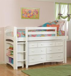 Low Twin Loft Bed w Dresser & Bookcase