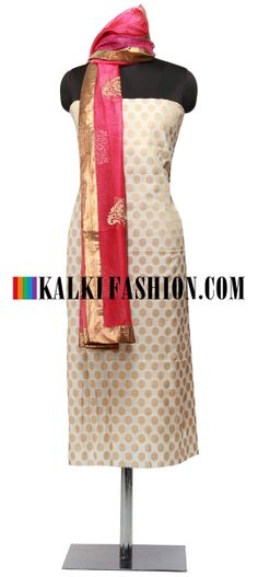 Buy Online from the link below. We ship worldwide (Free Shipping over US$100) http://www.kalkifashion.com/cream-unstitched-suit-with-dupatta-embroidered-in-zari-only-on-kalki.html Cream unstitched suit with dupatta embroidered in zari only on Kalki