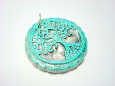 Turquoise and Silver Yggdrasil Tree of Life Pendant by PennysLane, $6.00