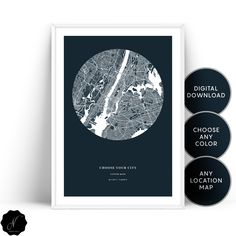Custom Map Digital Printable Wall Art, Personalized Map Of Any City, Customized Map Gift Wall Art Prints