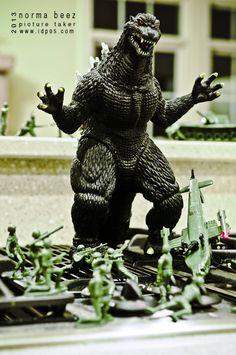 Godzilla Attacks 4  Army Men Series by normabeez on Etsy, $15.00