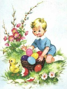 Illustrations Vintage, Easter Buckets, Vintage Easter, Vintage Cards, Decoupage, Clip Art, Diy Crafts, Simple, Projects