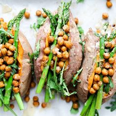 Stuffed Sweet Potatoes with Chickpeas, Asparagus and Arugula. Gluten free and vegan!