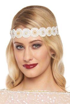 gatsbylady london Hazel Vintage Inspired Flapper Headband in Cream Gold Gatsby Headpiece, Flapper Headband, Headpiece Jewelry, Great Gatsby Fashion, Vintage Inspired Fashion, 1920s Makeup Tutorial, Bridesmaid Makeup, Sell Gold, Cream And Gold