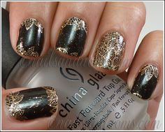OPI Pure Lacquer Nail Apps - Gold Lace 8 o Black Nails by NailsandNoms, via Flickr