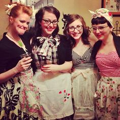 The lovely Kathy is getting hitched!! The ladies celebrated with a 50s housewife themed Bridal Shower!! Such a good idea!