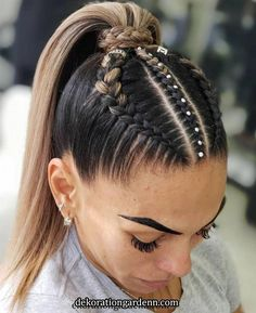 90 easy hairstyles for naturally curly hair - Hairstyles Trends Cool Braid Hairstyles, Baddie Hairstyles, Easy Hairstyles For Long Hair, Braids For Long Hair, High Ponytail With Braid, Cheer Hairstyles, Wedding Hairstyles, Braid Ponytail, Half Braid