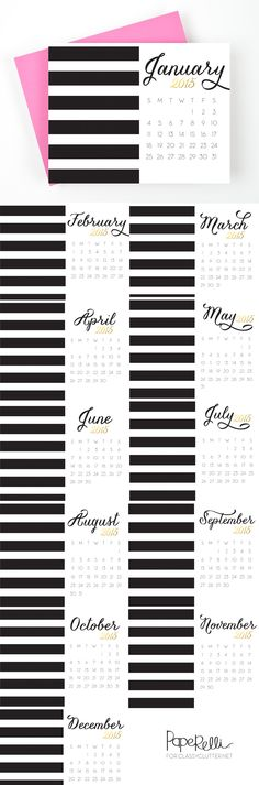 I love this! Black and white stripes -- get organized Free 2015 Printable Desk Calendars by Paperelli on Classy Clutter