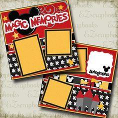 Magic Memories - 2 Premade Scrapbook Pages - EZ Layout 2190 Disney Paper Bag Scrapbook, Disney Scrapbook Pages, Scrapbook Page Layouts, Scrapbook Sketches, Scrapbook Cards, Magic Memories, Bridal Shower Scrapbook, Vacation Scrapbook, Recipe Scrapbook