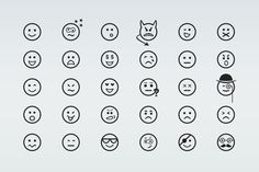 30 Smiley Line Icons by Creative VIP on @creativemarket