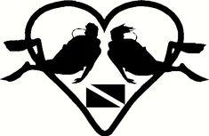 Scuba Diver Loving Couple Vinyl Decal Sticker