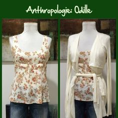 """2005 Anthro """"Apple Blossom Time Blouse"""" by Odille Old school Anthro.  Textured printed cotton, tie-back shell, side zip, great condition. **  Prices are as listed- No offers please.  I'm happy to bundle to save shipping costs, but there are no additional discounts.  No trades, paypal or condescending terms of endearment  ** Anthropologie Tops Blouses"""