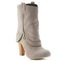 Jolie talon Chunky et SLIP-ON bottes courtes des femmes de conception