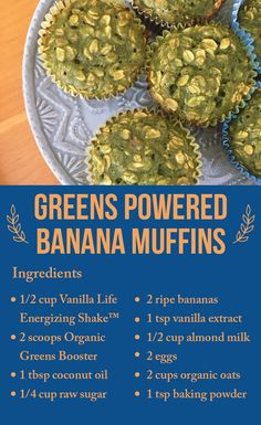 Try this Easy Peasy Greens Powered Banana Muffins #HealthyRecipes #VFL #Newsletter #AprilIssue #April2018