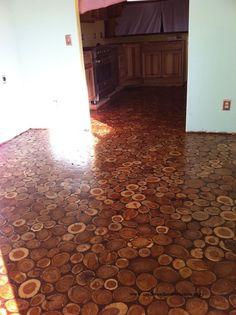DIY cordwood flooring