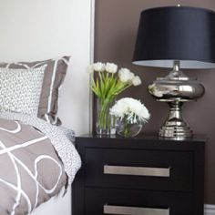 bedroom color palette- I like the navy lamp shade with the grays.