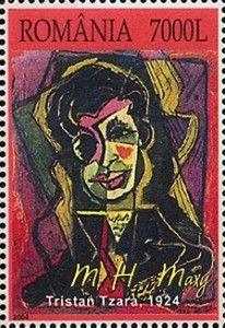 Porträt von Tristan Tzara rumänischer auf Briefmarke von 2004
