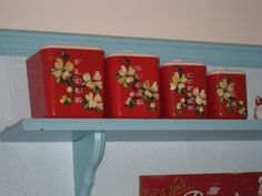 Lustroware red canisters. I own these pretty things!