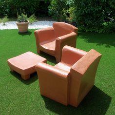 Fauteuil club Olga coloris terre cuite : en vente chez mes-meubles ...