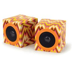 Even though the shape of this speaker is square, I really like the colors and pattern. The colors fit together well and I like that they are bright colors.