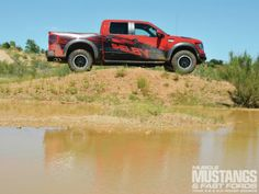 Check out this special SVT Raptor pickup, the 2013 Ford Shelby Raptor! Shelby American created this Shelby off-roader to honor Carroll Shelby's vision for the company. Shelby Raptor, Svt Raptor, Carroll Shelby, Side View, Mustang, Monster Trucks, Ford, Muscle, Magazine