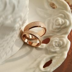 New Fashion Titanium Steel Plated 14K Rose Gold Matting Lover's Rings. So cute and simple!!