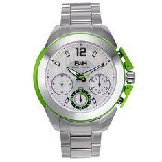Buech & Boilat Brandt & Hoffman Thoreau Men's Swiss Quartz Chronograph Watch with Aluminum Accents Textured Dial Steel Case and Bracelet