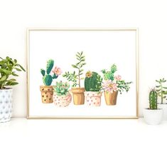 Cactus Print Printable Art Cactus Art Home by PaperStormPrints Watercolor Succulents, Watercolor Cactus, Succulents Art, Nursery Wall Art, Nursery Decor, Art Tropical, Decoration Cactus, Decorations, Cactus Cartoon