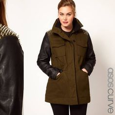 "ASOS Military Coat-Spike Shoulder Leather Sleeve This is one bad ass jacket and super rare! Sold out within days. Khaki green (a bit more green than in the photos) w/silver spikes on the shoulders and black faux leather sleeves and pocket details. It will likely fit like a heavy jacket on a taller woman and a coat on someone 5'8"" and under. There's a string to cinch your waist. ASOS Curve size 16US (oversized); will fit great on someone who wears a 16-18/20. See photo #4: An inner pocket…"