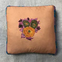 Organza Pillow (Yellow/Green Flowers)