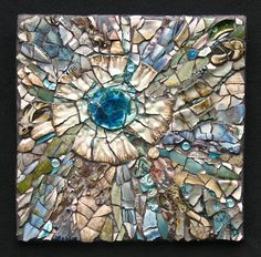 sold $475  14 x 14  pottery, pearls, beads, glass and shell L'acceptation by Kathleen Jones  ~  Maplestone Gallery  ~  Contemporary Mosaic Art