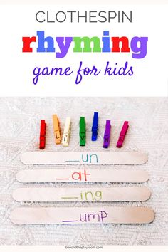 Clothespin Rhyming Words