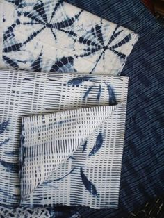 Shibori, Srithreads |The fragment with the delicate, broken stripes was created by first pleating the fabric before vat dyeing it. The flower forms were dyed using a second process, either by clamping or by stenciling.