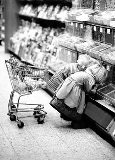 serious shoppers! When I was a little girl my grocery store had tiny carts like this...loved them! Mom...not so much!!